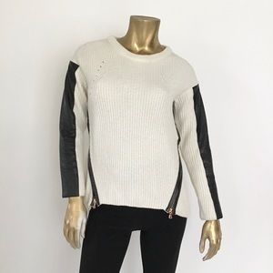 MILLY WOOL BLEND/LEATHER SLEEVE/TRIM SWEATER SZ P